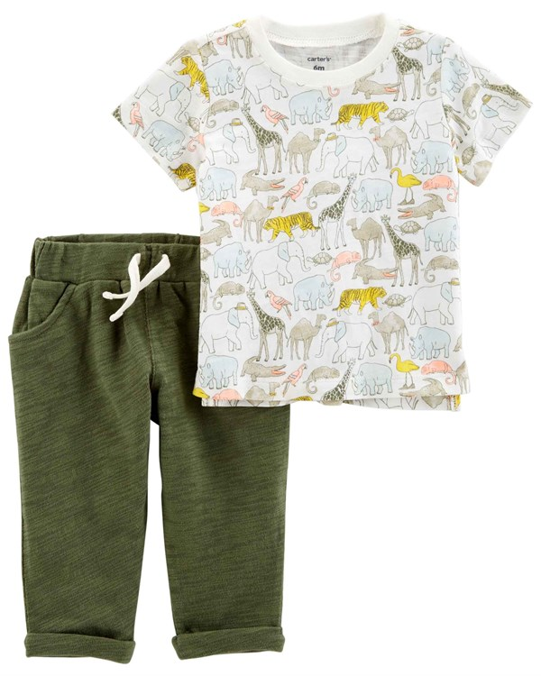 Carter's Erkek Bebek 2'li Set - Olive&Orange Collection
